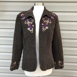 Coldwater Creek Brown Floral Embroidered Jacket